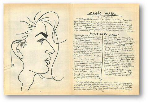 Magic Marc handwritten notes and sketch on distressed paper